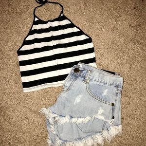 LF Black and White Halter Crop Top